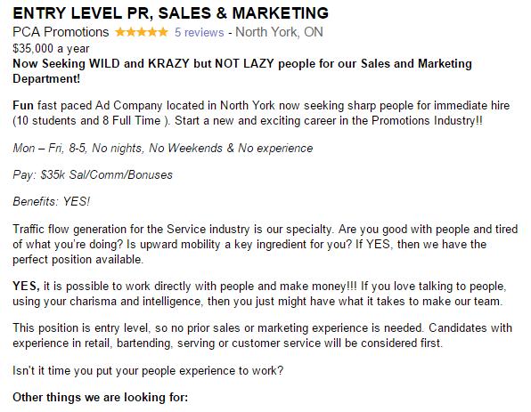 PCA Promotions job posting