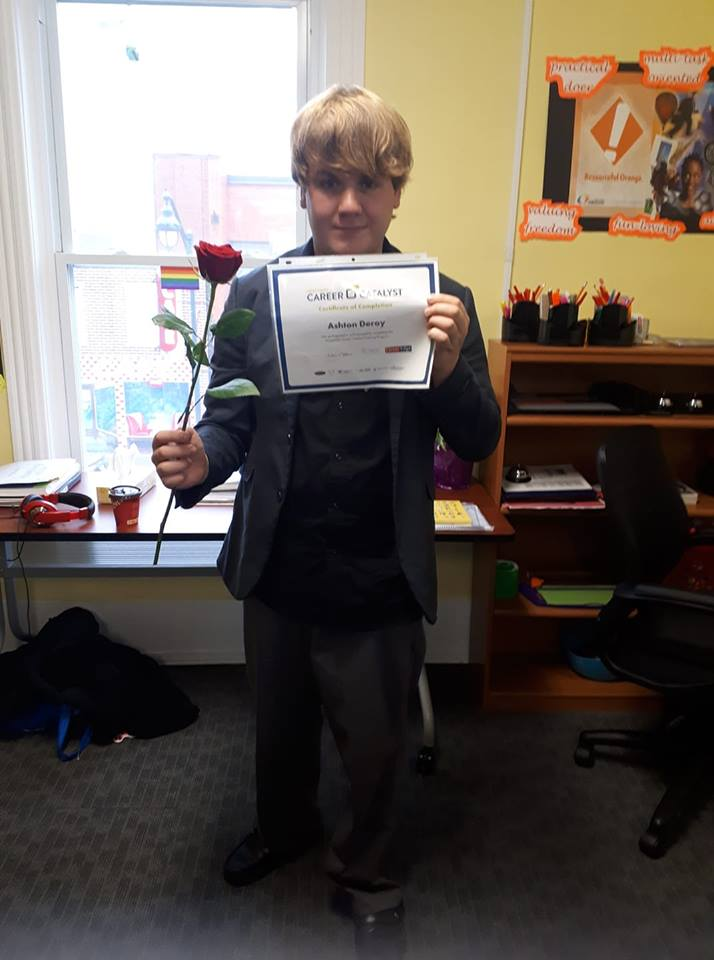 Ashton Deroy with certificate