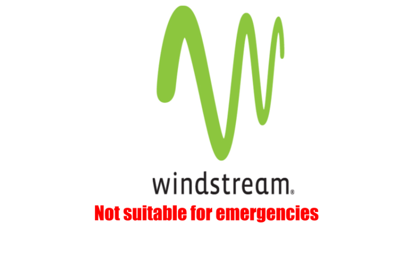 Windstream: Not suitable for emergencies.