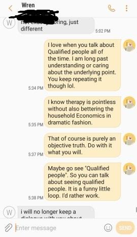 My texts to wren
