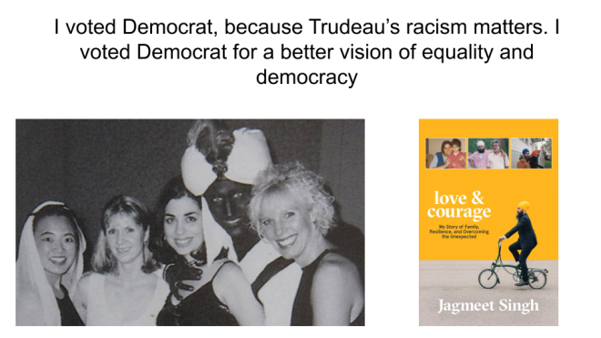 I voted Democrat, because racism matters.